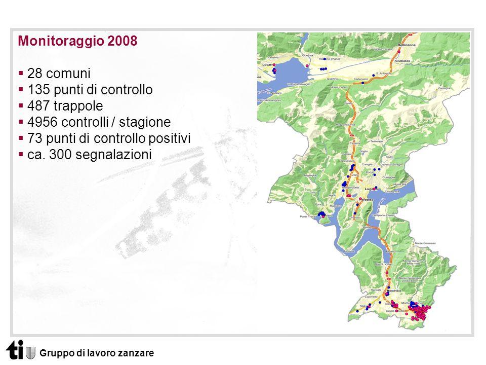 Gruppo di lavoro zanzare Monitoraggio 2008 28 comuni 135 punti di controllo 487 trappole 4956 controlli / stagione 73 punti di controllo positivi ca.