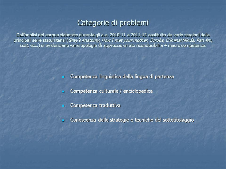 Categorie di problemi Dallanalisi del corpus elaborato durante gli a.a. 2010-11 e 2011-12 costituito da varie stagioni delle principali serie statunit