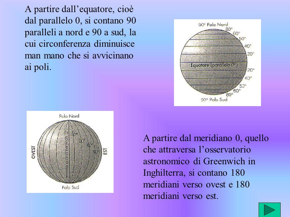 A partire dal meridiano 0, quello che attraversa losservatorio astronomico di Greenwich in Inghilterra, si contano 180 meridiani verso ovest e 180 meridiani verso est.