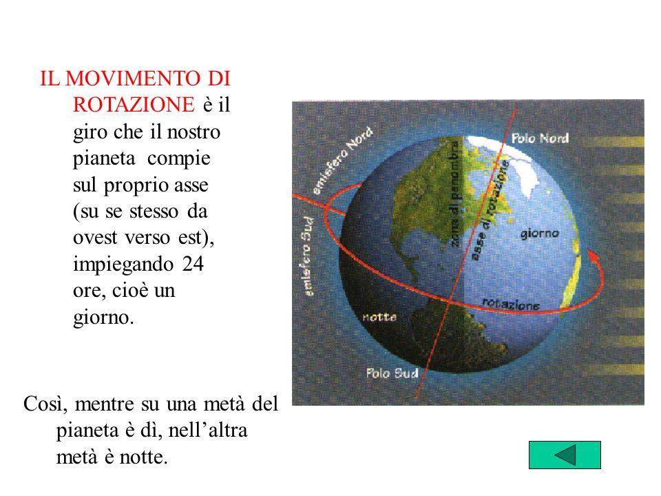 IL MOVIMENTO DI ROTAZIONE è il giro che il nostro pianeta compie sul proprio asse (su se stesso da ovest verso est), impiegando 24 ore, cioè un giorno