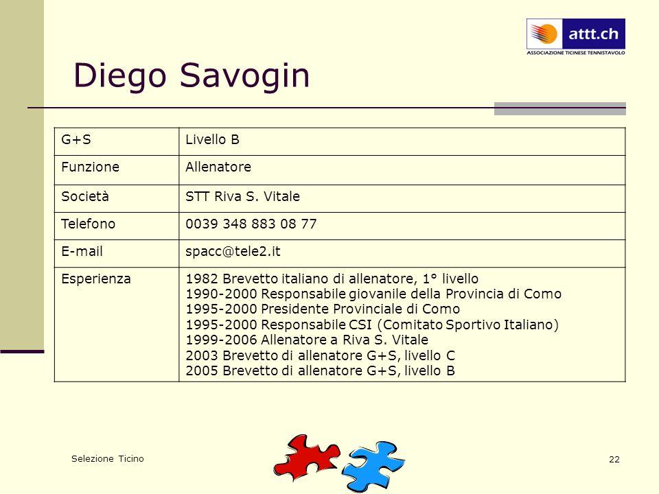 Selezione Ticino 22 Diego Savogin G+SLivello B FunzioneAllenatore SocietàSTT Riva S. Vitale Telefono0039 348 883 08 77 E-mailspacc@tele2.it Esperienza