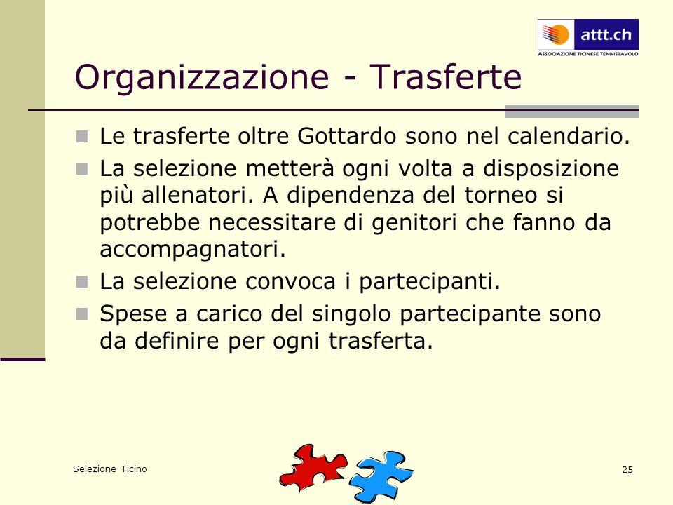 Selezione Ticino 25 Organizzazione - Trasferte Le trasferte oltre Gottardo sono nel calendario. La selezione metterà ogni volta a disposizione più all