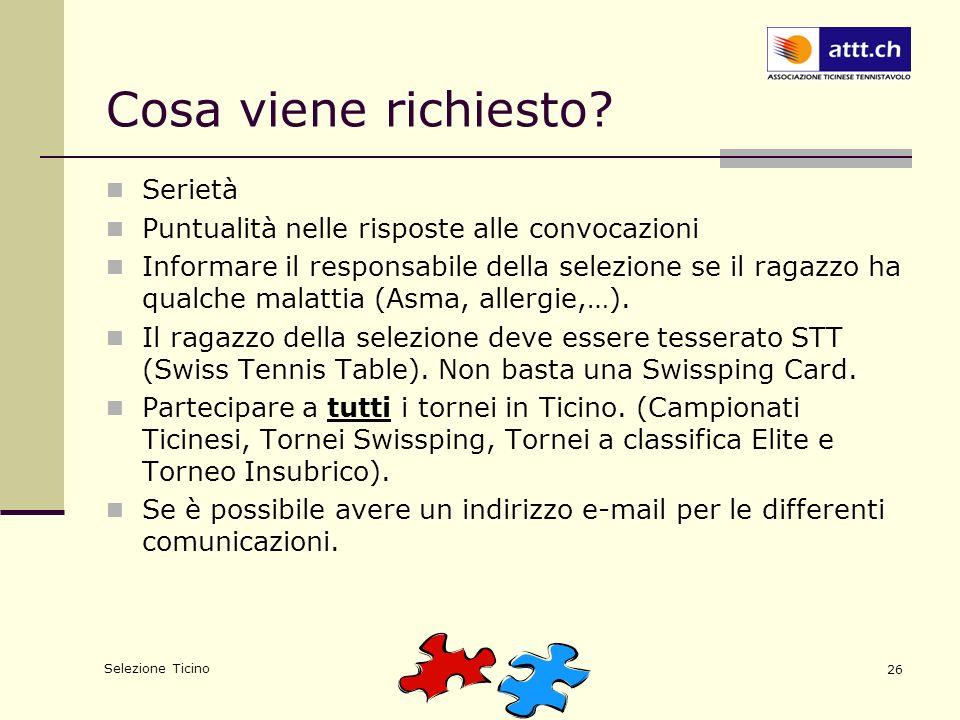 Selezione Ticino 26 Cosa viene richiesto.