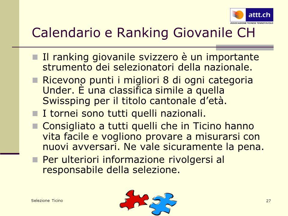 Selezione Ticino 27 Calendario e Ranking Giovanile CH Il ranking giovanile svizzero è un importante strumento dei selezionatori della nazionale. Ricev