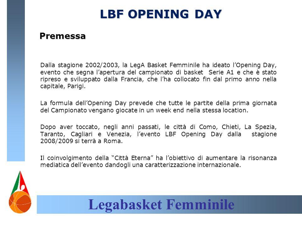 Legabasket Femminile LBF OPENING DAY Premessa Dalla stagione 2002/2003, la LegA Basket Femminile ha ideato lOpening Day, evento che segna lapertura del campionato di basket Serie A1 e che è stato ripreso e sviluppato dalla Francia, che lha collocato fin dal primo anno nella capitale, Parigi.