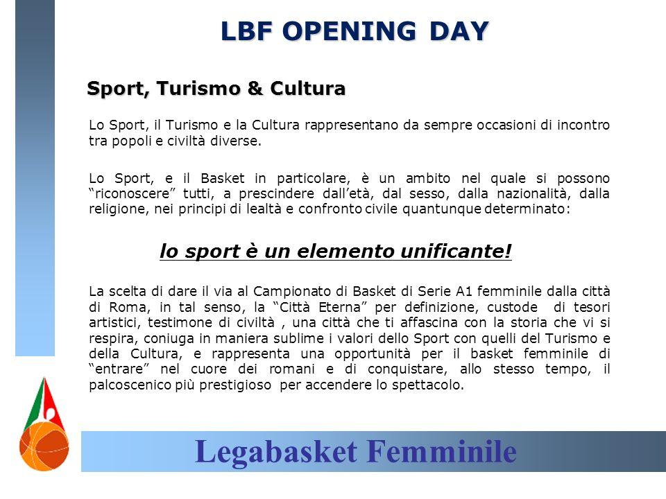 Legabasket Femminile LBF OPENING DAY Sport, Turismo & Cultura Lo Sport, il Turismo e la Cultura rappresentano da sempre occasioni di incontro tra popoli e civiltà diverse.