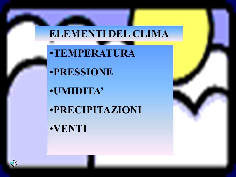 ELEMENTI DEL CLIMA TEMPERATURA PRESSIONE UMIDITA PRECIPITAZIONI VENTI