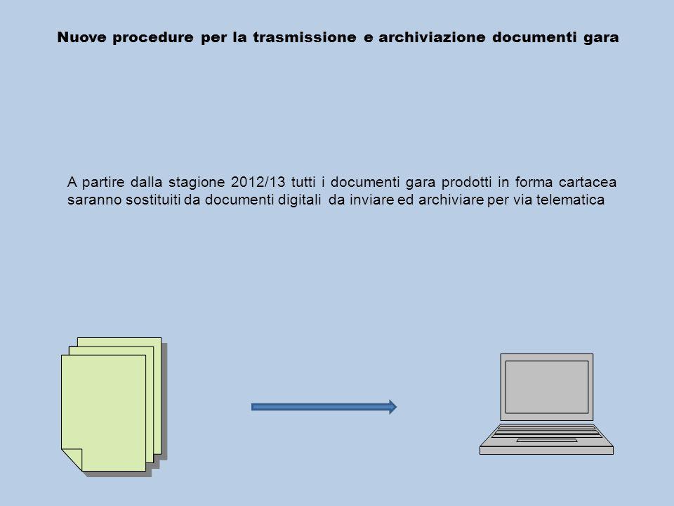 Nuove procedure per la trasmissione e archiviazione documenti gara A partire dalla stagione 2012/13 tutti i documenti gara prodotti in forma cartacea