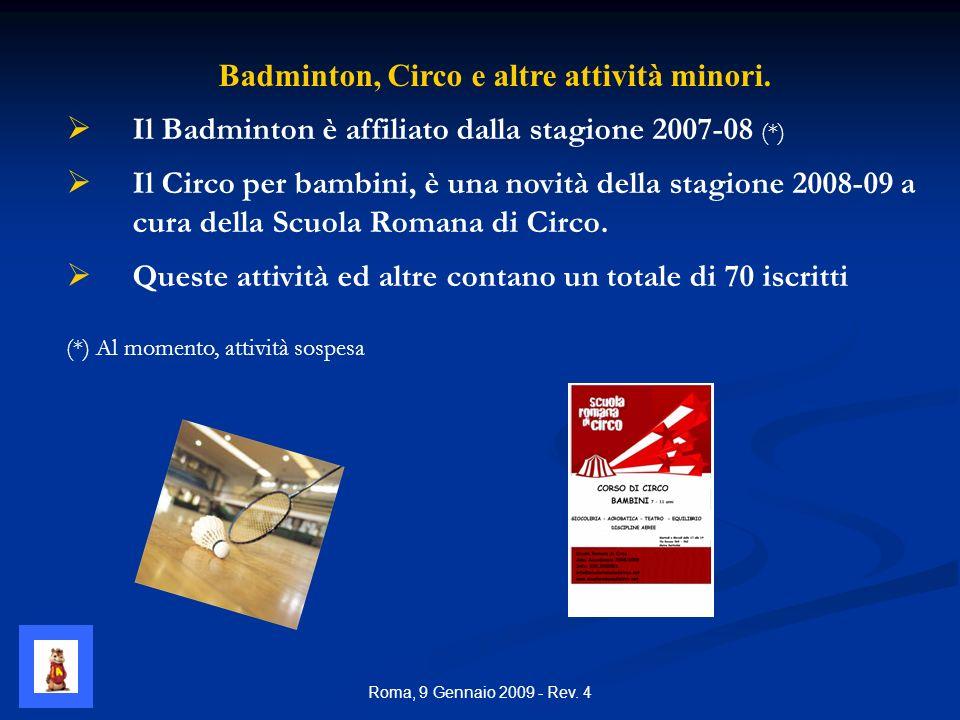Roma, 9 Gennaio 2009 - Rev. 4 Badminton, Circo e altre attività minori.