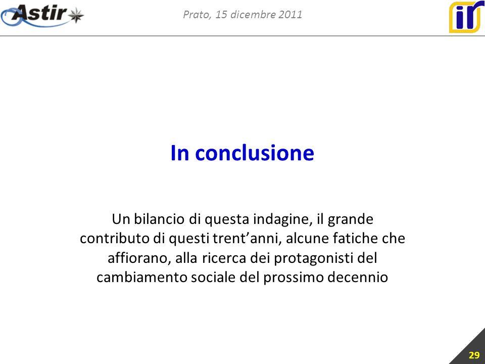 Prato, 15 dicembre 2011 In conclusione Un bilancio di questa indagine, il grande contributo di questi trentanni, alcune fatiche che affiorano, alla ricerca dei protagonisti del cambiamento sociale del prossimo decennio 29