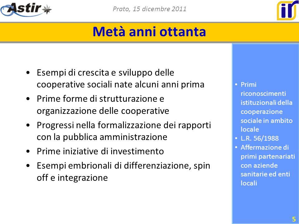 Prato, 15 dicembre 2011 Primi riconoscimenti istituzionali della cooperazione sociale in ambito locale L.R.