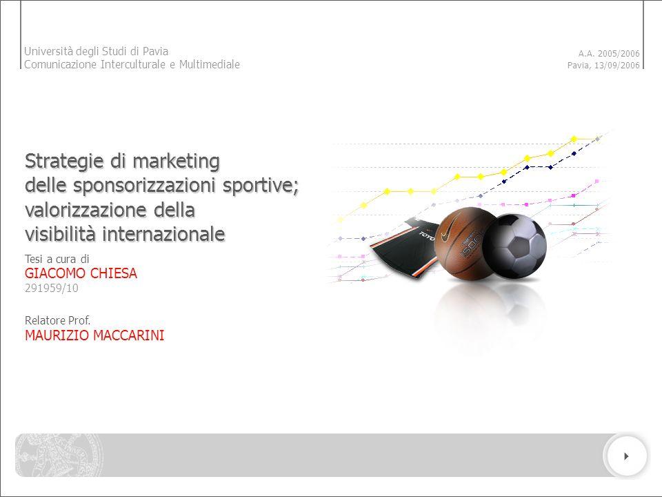 Tesi a cura di GIACOMO CHIESA Relatore Prof. MAURIZIO MACCARINI 291959/10 A.A. 2005/2006 Pavia, 13/09/2006 Strategie di marketing delle sponsorizzazio