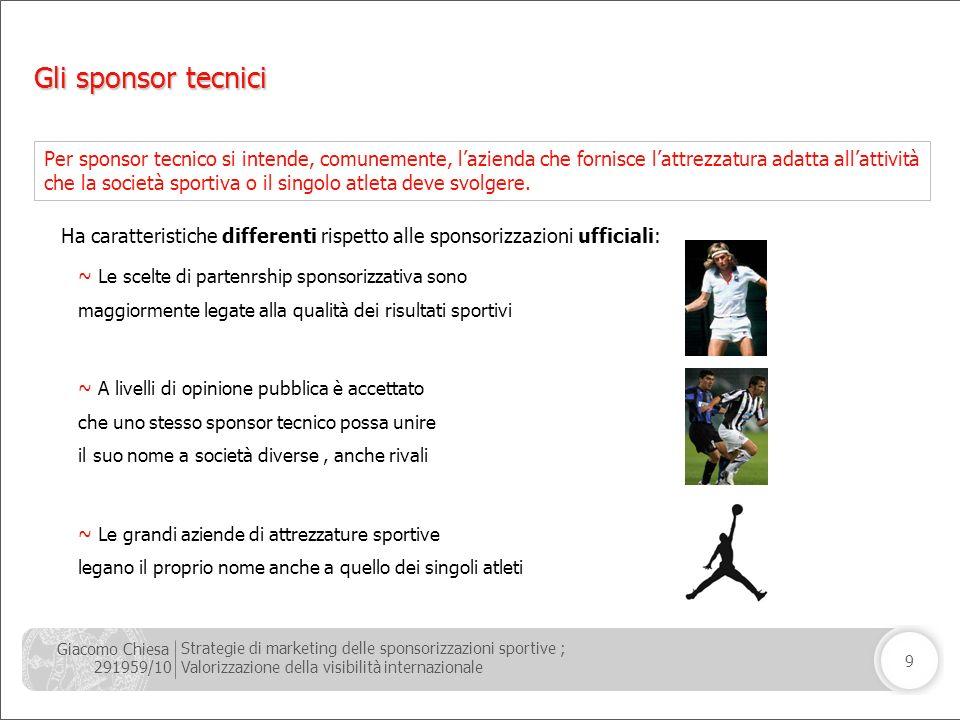 Giacomo Chiesa 291959/10 Strategie di marketing delle sponsorizzazioni sportive ; Valorizzazione della visibilità internazionale 9 ~ Le scelte di part
