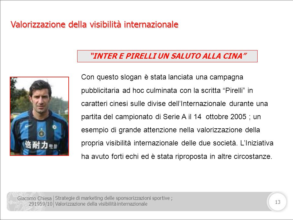 Giacomo Chiesa 291959/10 Strategie di marketing delle sponsorizzazioni sportive ; Valorizzazione della visibilità internazionale 13 INTER E PIRELLI UN