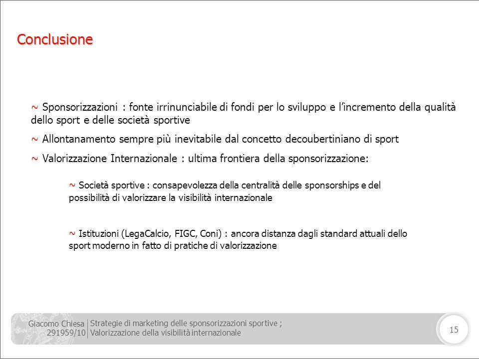 Giacomo Chiesa 291959/10 Strategie di marketing delle sponsorizzazioni sportive ; Valorizzazione della visibilità internazionale 15 Conclusione ~ Spon