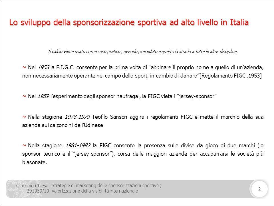 Giacomo Chiesa 291959/10 Strategie di marketing delle sponsorizzazioni sportive ; Valorizzazione della visibilità internazionale 2 Lo sviluppo della s