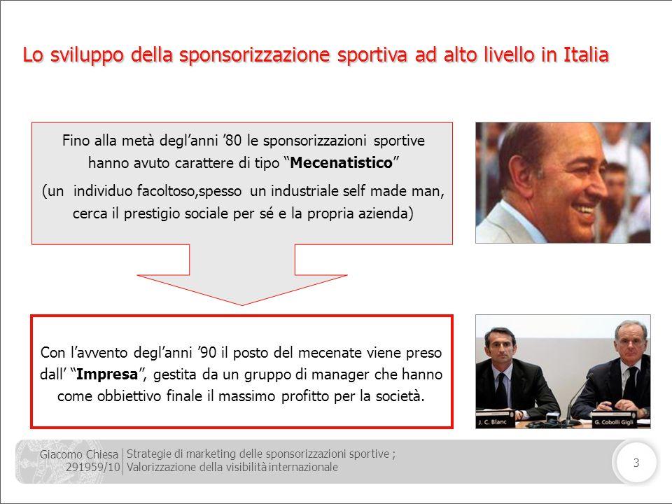 Giacomo Chiesa 291959/10 Strategie di marketing delle sponsorizzazioni sportive ; Valorizzazione della visibilità internazionale 3 Fino alla metà degl