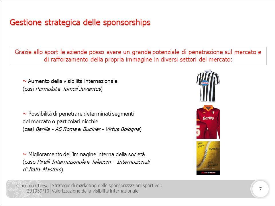 Giacomo Chiesa 291959/10 Strategie di marketing delle sponsorizzazioni sportive ; Valorizzazione della visibilità internazionale 7 Grazie allo sport l