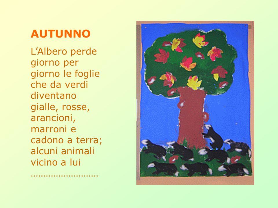 AUTUNNO LAlbero perde giorno per giorno le foglie che da verdi diventano gialle, rosse, arancioni, marroni e cadono a terra; alcuni animali vicino a lui ………………………