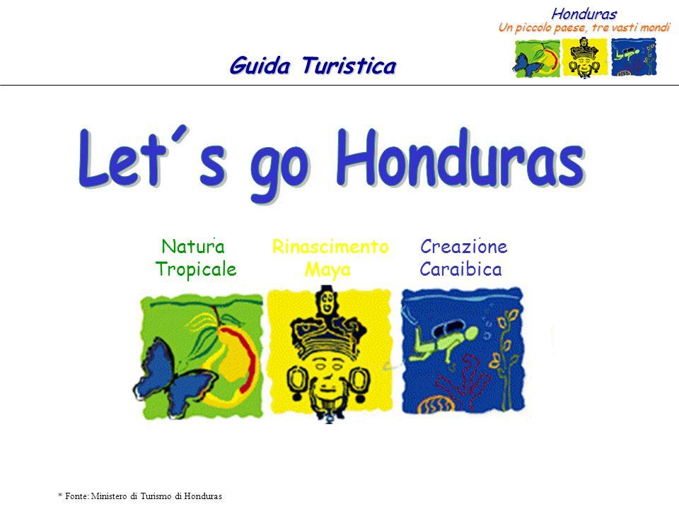 Honduras Un piccolo paese, tre vasti mondi Guida Turistica * Fonte: Ministero di Turismo di Honduras Roatán Utila Guanaja Cayos Cochinos San Pedro Sula Santa Bárbara Copán Ruinas Sta.
