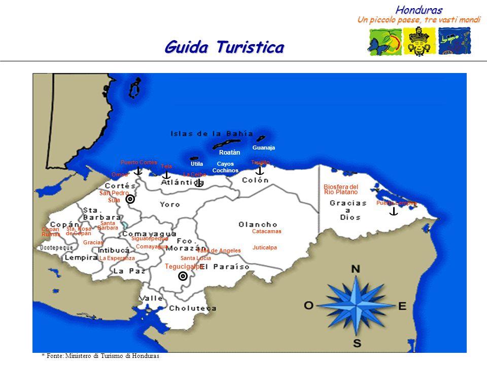 Honduras Un piccolo paese, tre vasti mondi Guida Turistica * Fonte: Ministero di Turismo di Honduras Roatán Utila Guanaja Cayos Cochinos San Pedro Sul