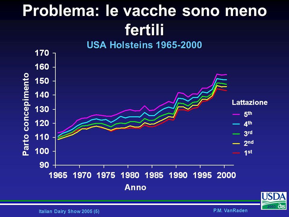 Italian Dairy Show 2005 (5) P.M. VanRaden 2003 Problema: le vacche sono meno fertili USA Holsteins 1965-2000 5 th 4 th 3 rd 2 nd 1 st Lattazione