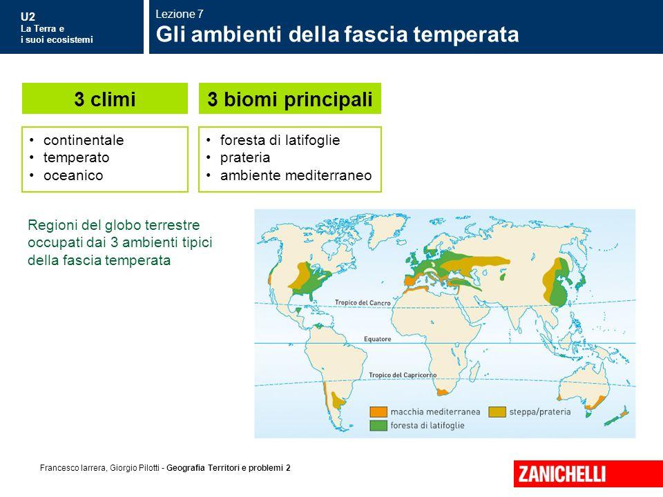 U2 La Terra e i suoi ecosistemi Francesco Iarrera, Giorgio Pilotti - Geografia Territori e problemi 2 Regioni del globo terrestre occupati dai 3 ambie