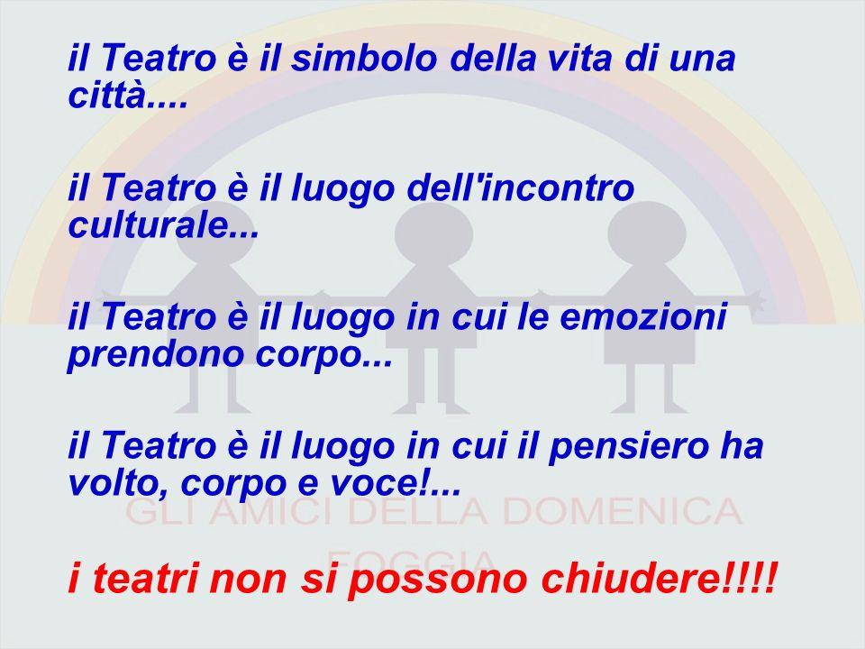 il Teatro è il simbolo della vita di una città....