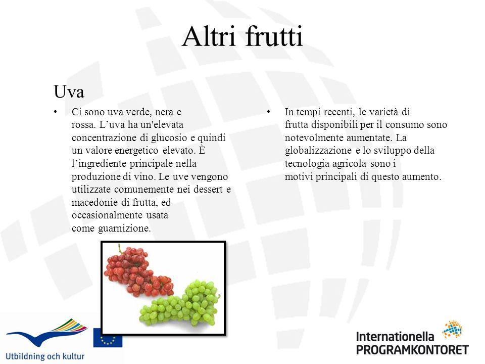 Altri frutti Uva Ci sono uva verde, nera e rossa. Luva ha un'elevata concentrazione di glucosio e quindi un valore energetico elevato. È lingrediente