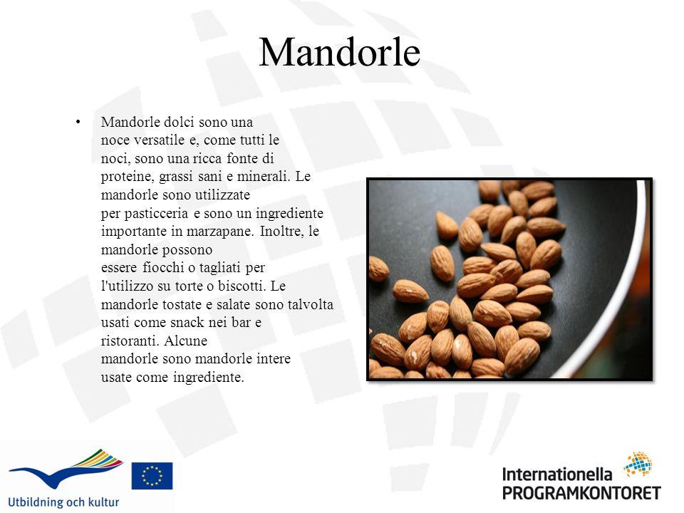 Mandorle Mandorle dolci sono una noce versatile e, come tutti le noci, sono una ricca fonte di proteine, grassi sani e minerali. Le mandorle sono util