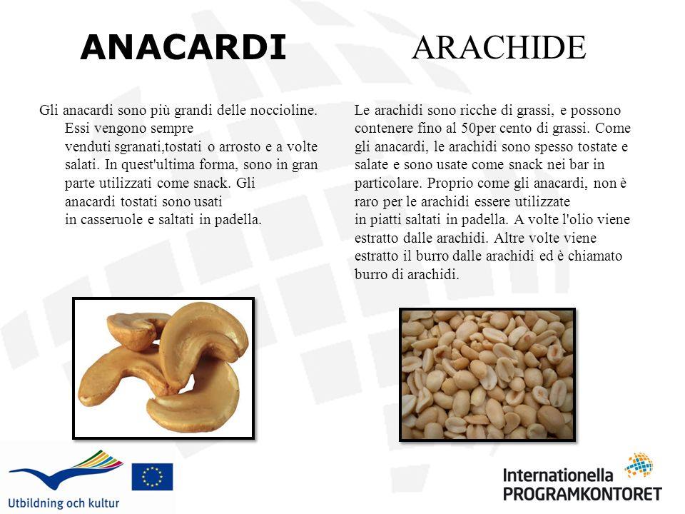 ANACARDI Gli anacardi sono più grandi delle noccioline. Essi vengono sempre venduti sgranati,tostati o arrosto e a volte salati. In quest'ultima forma