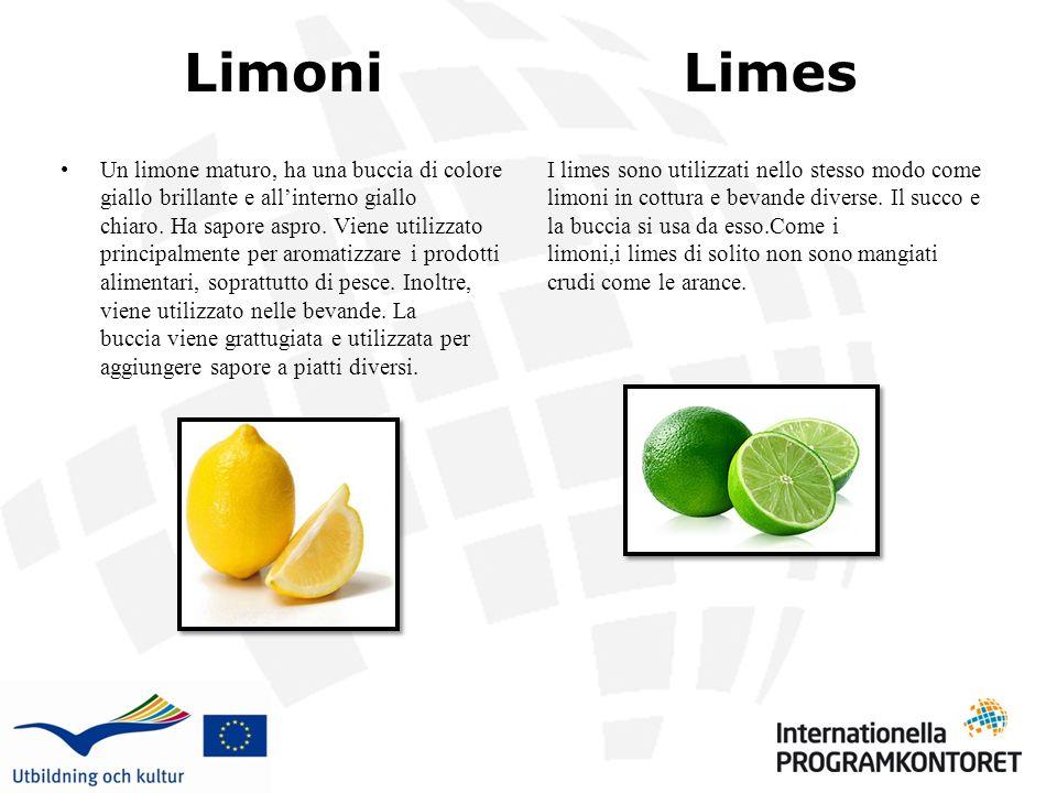 Limoni Un limone maturo, ha una buccia di colore giallo brillante e allinterno giallo chiaro. Ha sapore aspro. Viene utilizzato principalmente per aro