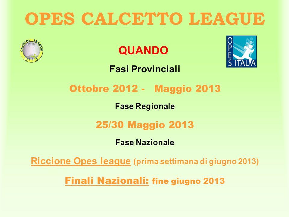 Fasi Provinciali Ottobre 2012 - Maggio 2013 Fase Regionale 25/30 Maggio 2013 Fase Nazionale Riccione Opes league (prima settimana di giugno 2013) Fina