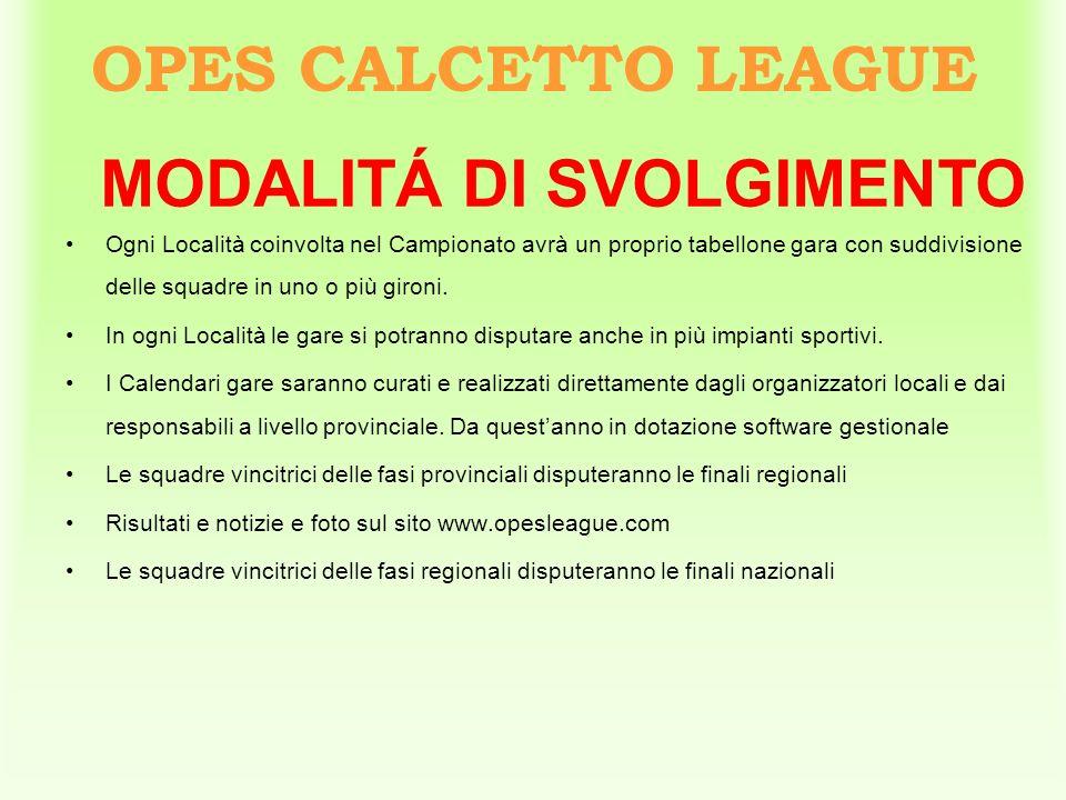 OPES CALCETTO LEAGUE Ogni Località coinvolta nel Campionato avrà un proprio tabellone gara con suddivisione delle squadre in uno o più gironi. In ogni