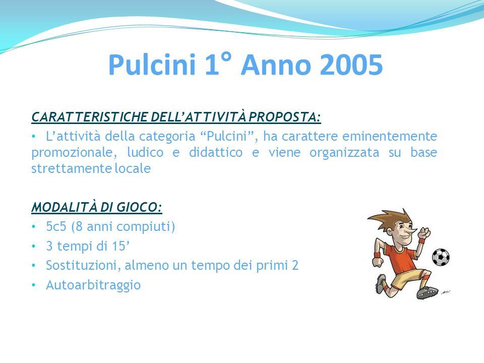 Pulcini 1° Anno 2005 CARATTERISTICHE DELLATTIVITÀ PROPOSTA: Lattività della categoria Pulcini, ha carattere eminentemente promozionale, ludico e didat