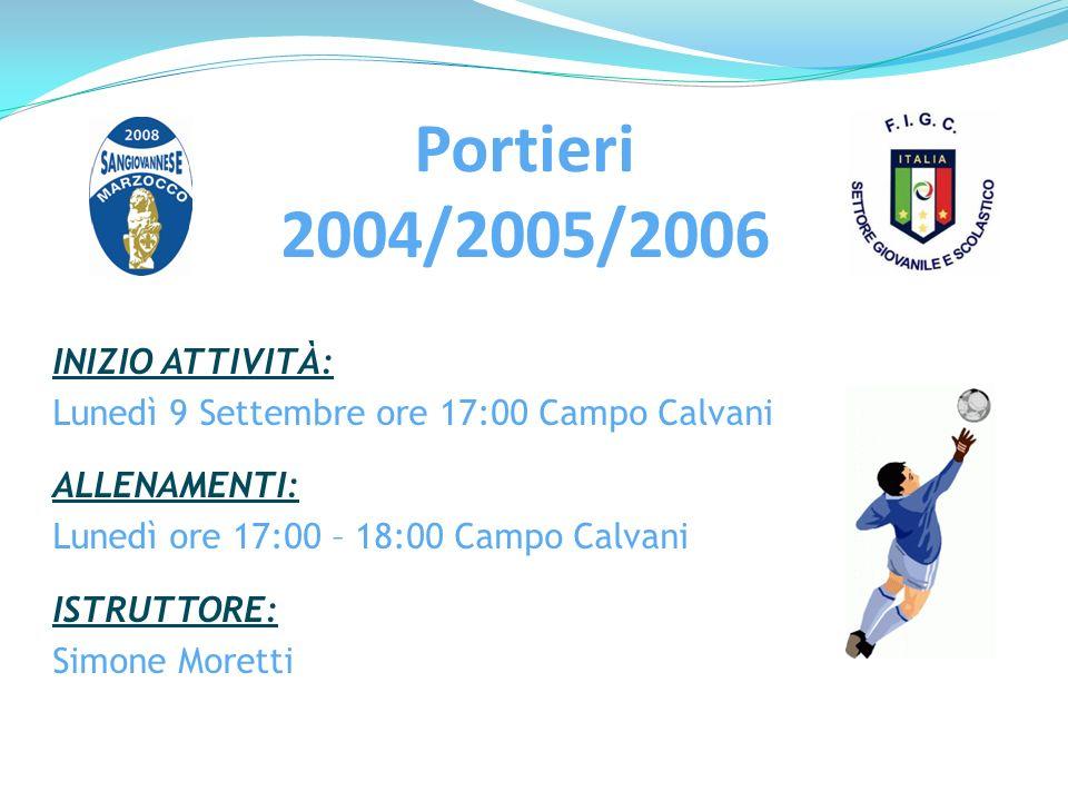 Portieri 2004/2005/2006 INIZIO ATTIVITÀ: Lunedì 9 Settembre ore 17:00 Campo Calvani ALLENAMENTI: Lunedì ore 17:00 – 18:00 Campo Calvani ISTRUTTORE: Si