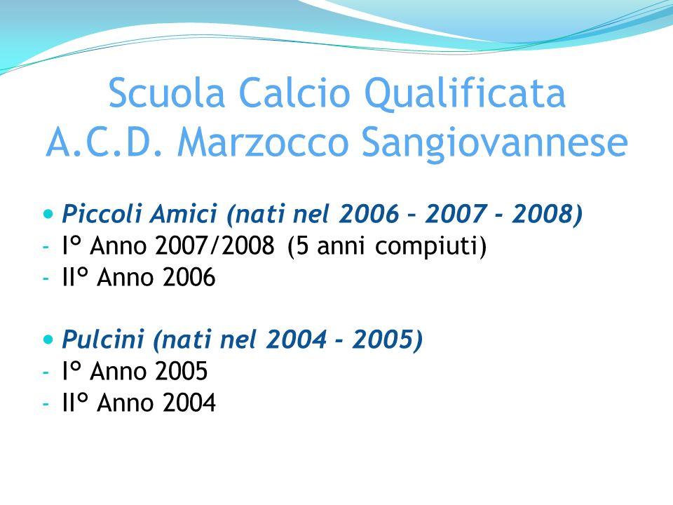 Scuola Calcio Qualificata A.C.D. Marzocco Sangiovannese Piccoli Amici (nati nel 2006 – 2007 - 2008) - I° Anno 2007/2008 (5 anni compiuti) - II° Anno 2