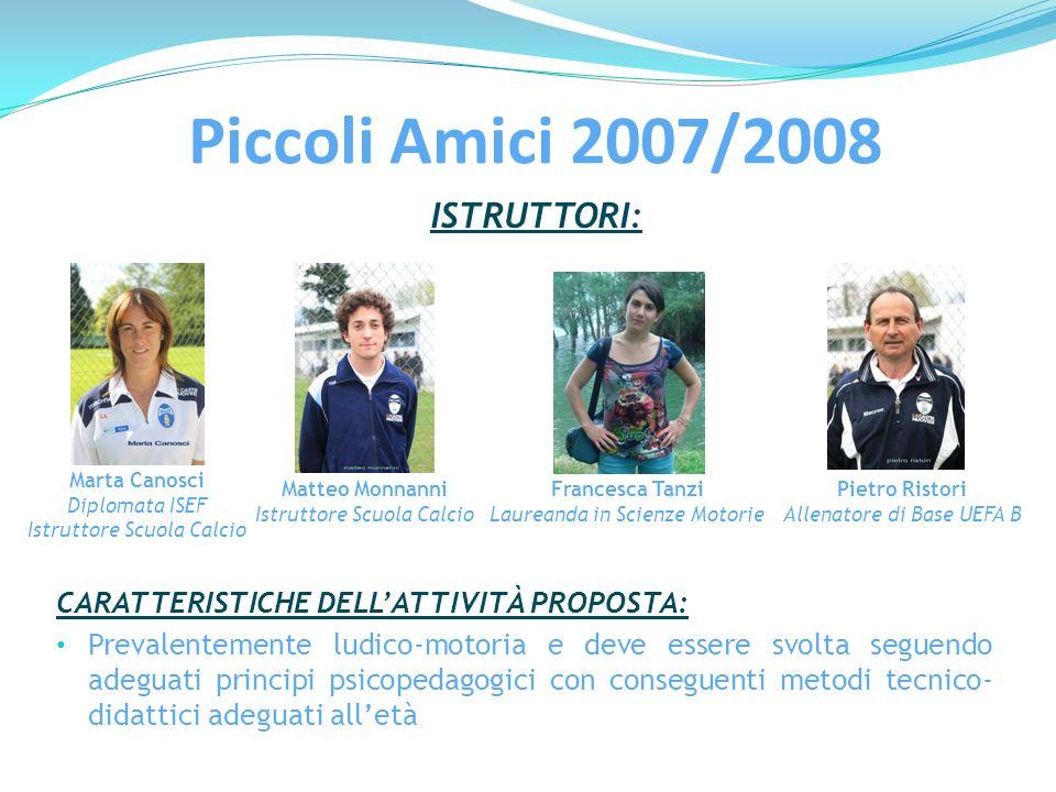 ISTRUTTORI: Marta Canosci Diplomata ISEF Istruttore Scuola Calcio Matteo Monnanni Istruttore Scuola Calcio Francesca Tanzi Laureanda in Scienze Motori