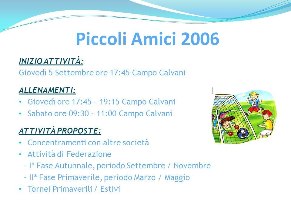 Portieri 2004/2005/2006 INIZIO ATTIVITÀ: Lunedì 9 Settembre ore 17:00 Campo Calvani ALLENAMENTI: Lunedì ore 17:00 – 18:00 Campo Calvani ISTRUTTORE: Simone Moretti