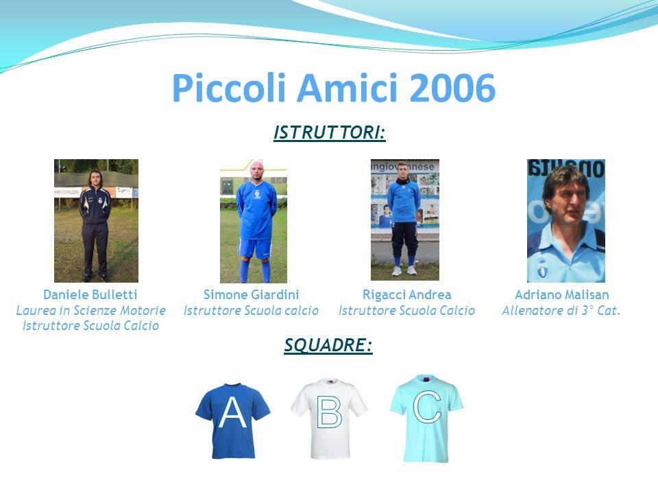 ISTRUTTORI: Daniele Bulletti Laurea in Scienze Motorie Istruttore Scuola Calcio Simone Giardini Istruttore Scuola calcio Rigacci Andrea Istruttore Scu