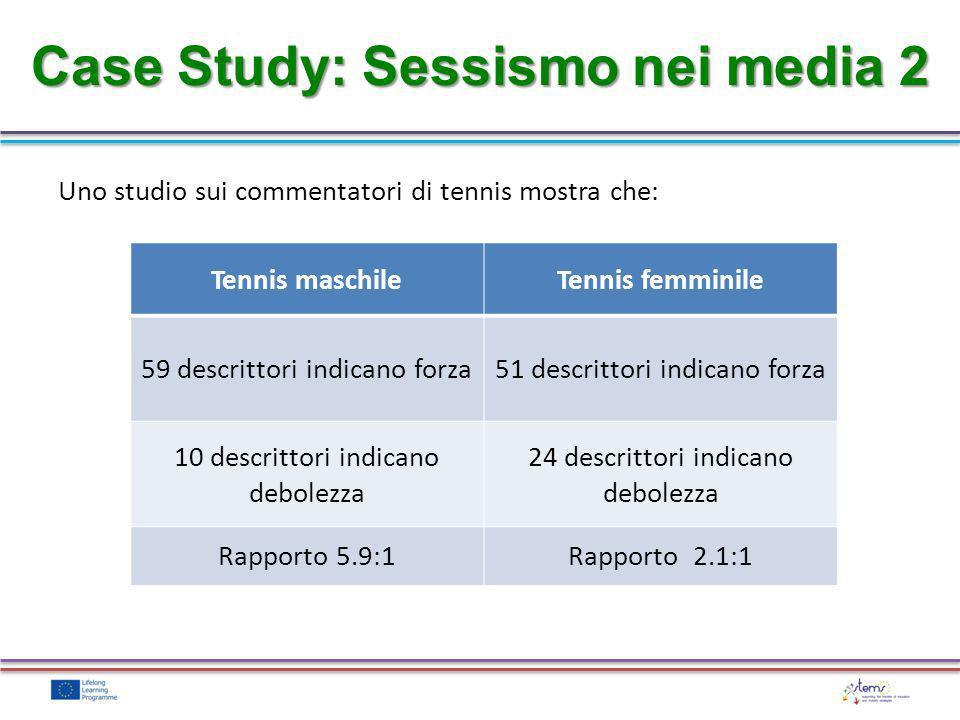 Case Study: Sessismo nei media 2 Tennis maschileTennis femminile 59 descrittori indicano forza51 descrittori indicano forza 10 descrittori indicano de