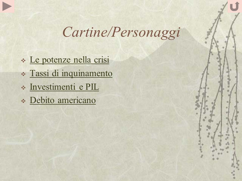 Cartine/Personaggi Le potenze nella crisi Tassi di inquinamento Investimenti e PIL Debito americano