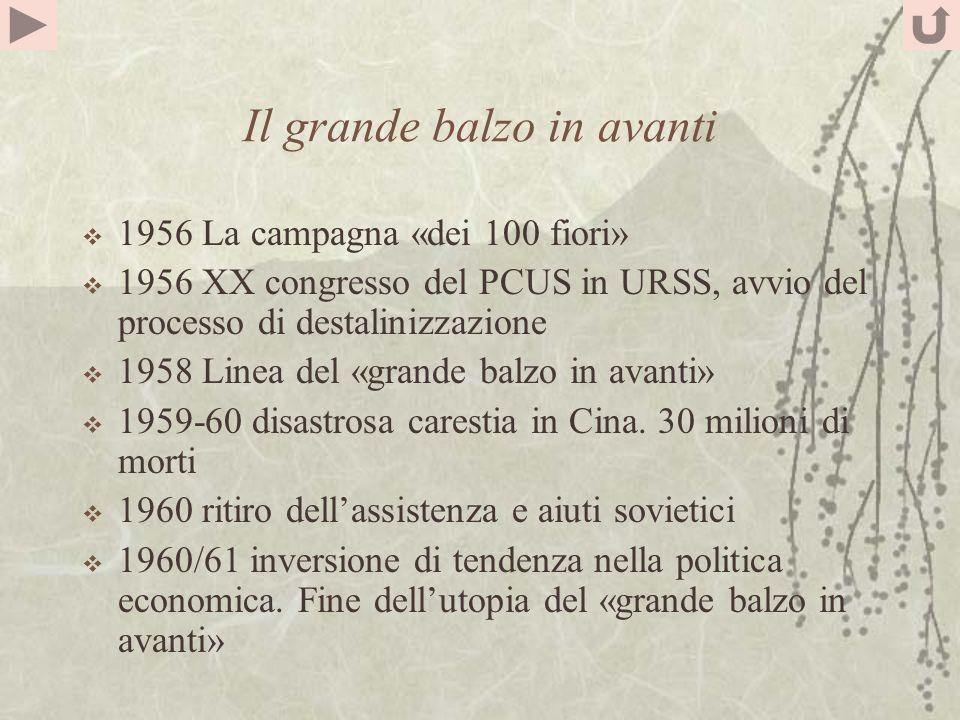 Il grande balzo in avanti 1956 La campagna «dei 100 fiori» 1956 XX congresso del PCUS in URSS, avvio del processo di destalinizzazione 1958 Linea del «grande balzo in avanti» 1959-60 disastrosa carestia in Cina.