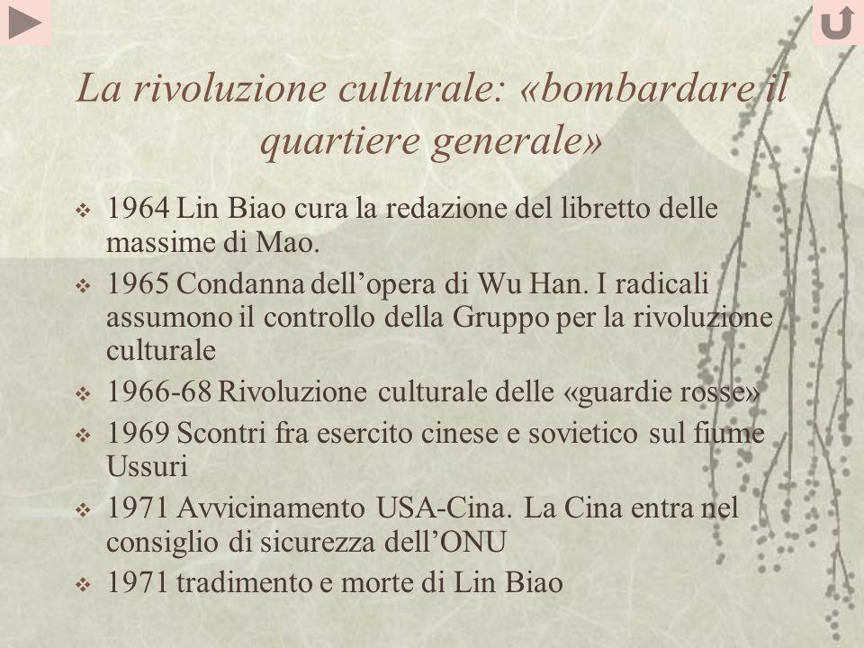 La rivoluzione culturale: «bombardare il quartiere generale» 1964 Lin Biao cura la redazione del libretto delle massime di Mao.