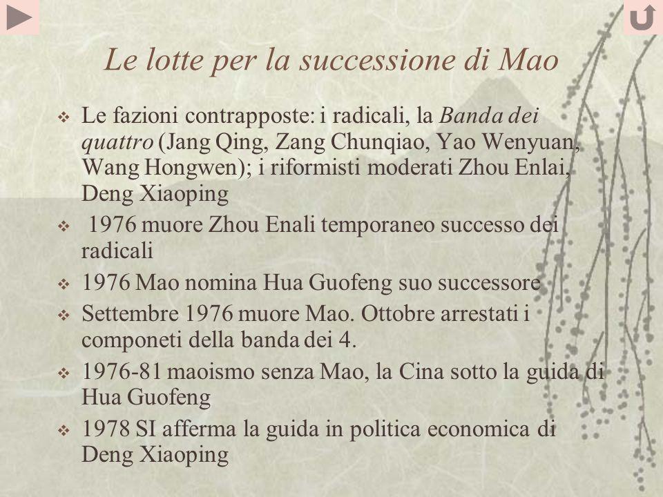Le lotte per la successione di Mao Le fazioni contrapposte: i radicali, la Banda dei quattro (Jang Qing, Zang Chunqiao, Yao Wenyuan, Wang Hongwen); i riformisti moderati Zhou Enlai, Deng Xiaoping 1976 muore Zhou Enali temporaneo successo dei radicali 1976 Mao nomina Hua Guofeng suo successore Settembre 1976 muore Mao.