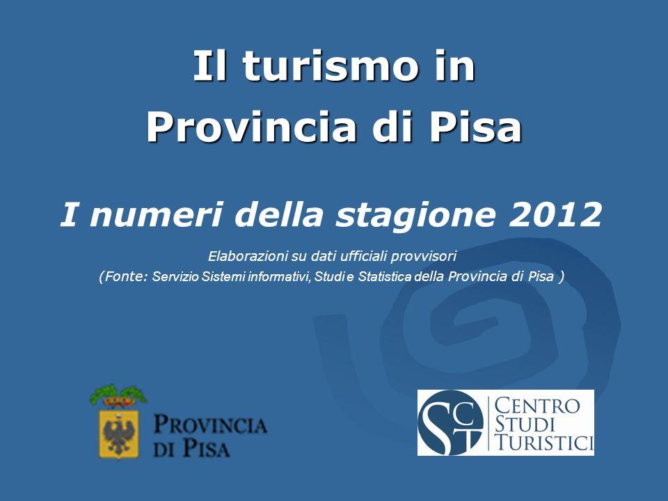 Il turismo in Provincia di Pisa I numeri della stagione 2012 Elaborazioni su dati ufficiali provvisori (Fonte: Servizio Sistemi informativi, Studi e Statistica d ella Provincia di Pisa )