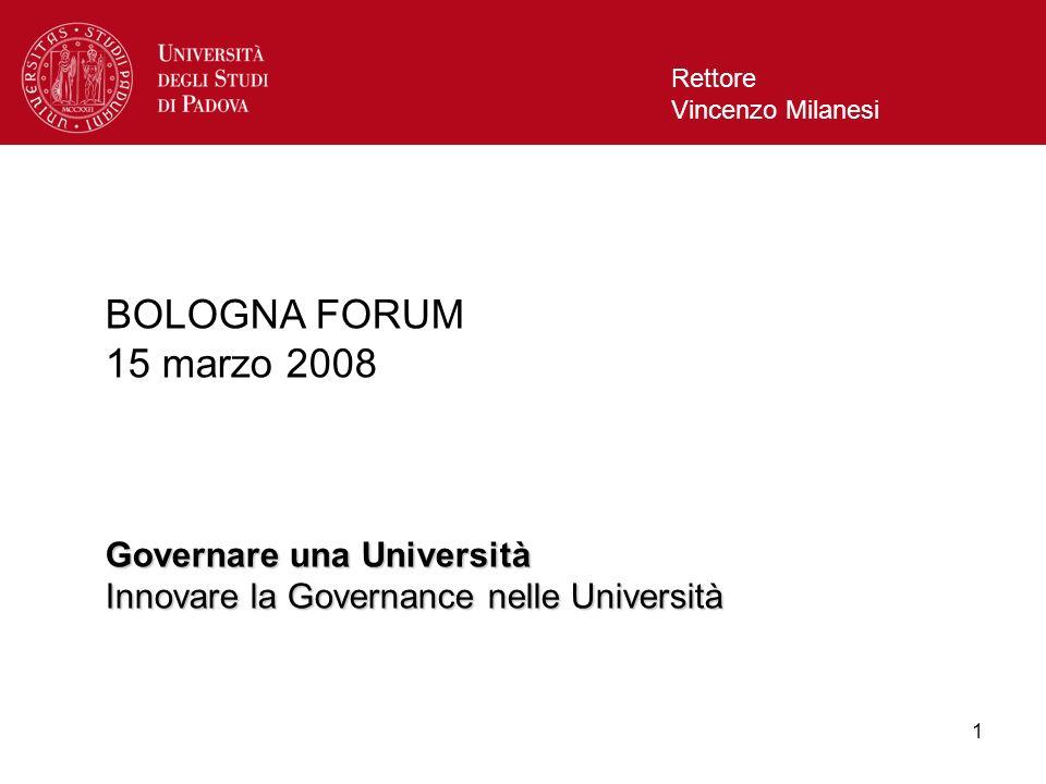 1 Rettore Vincenzo Milanesi BOLOGNA FORUM 15 marzo 2008 Governare una Università Innovare la Governance nelle Università