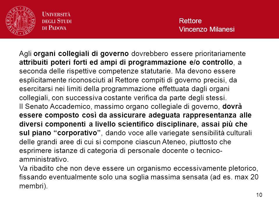 11 Rettore Vincenzo Milanesi Per quanto attiene la modalità di composizione del CdA, va ribadito che i componenti dovranno essere scelti secondo criteri di competenza specifica in ordine allassunzione di responsabilità gestionali, e non in termini di rappresentanza di categorie di personale dellAteneo.