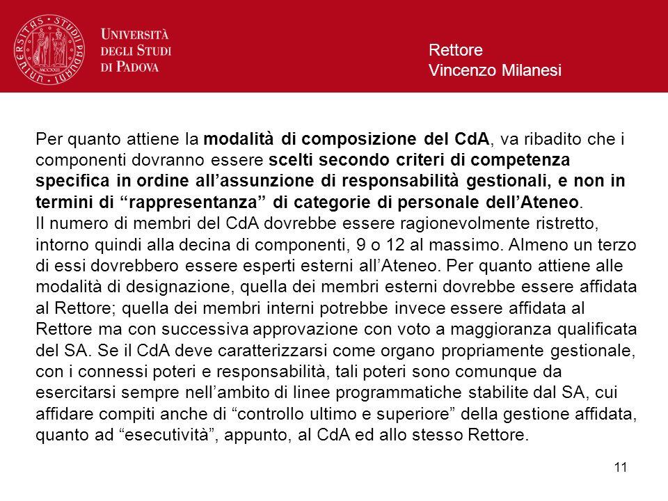 11 Rettore Vincenzo Milanesi Per quanto attiene la modalità di composizione del CdA, va ribadito che i componenti dovranno essere scelti secondo crite