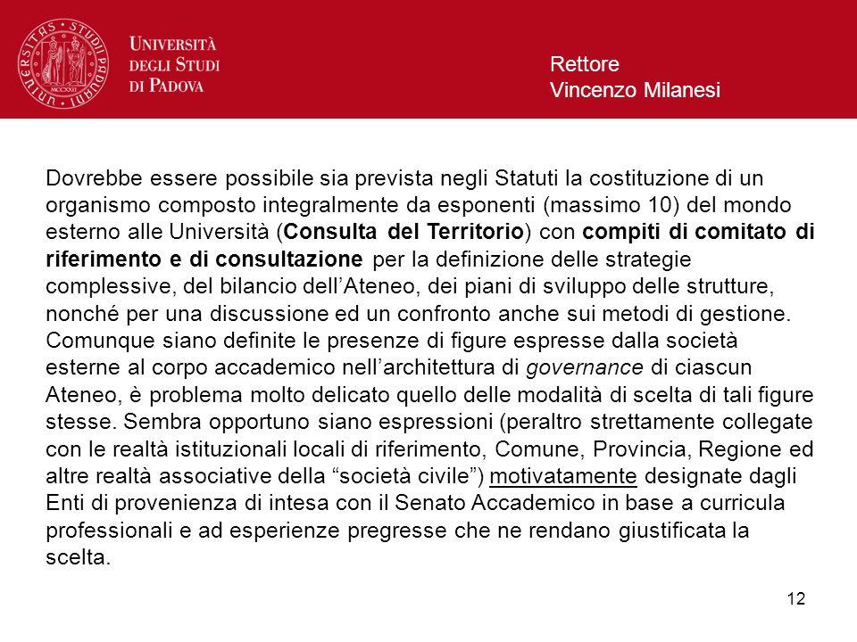 12 Rettore Vincenzo Milanesi Dovrebbe essere possibile sia prevista negli Statuti la costituzione di un organismo composto integralmente da esponenti